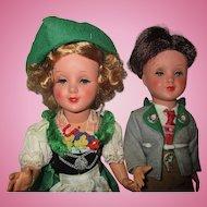 "Celluloid/Plastic Bavarian German couple dolls GURA  12"" tall"