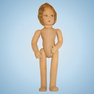 """Old vintage LENCI doll girl in need of TLC 13"""" Flapper style hair signed on feet Italy Bambola"""