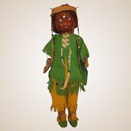 RARE 1916-1920 Averill Native American bisque, cloth compo Indian doll all original