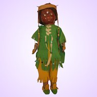 RARE 1916-1920 Averill Native American bisque, cloth compo Indian doll all original