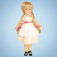 """1950's Arranbee Nancy Lee Nanette vintage plastic doll blonde platinum piggy tails 14"""" R&B"""