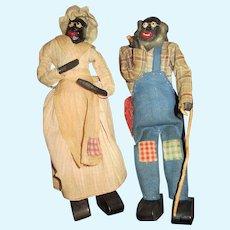 Black American Granddad and Grandma old cloth dolls  rare cane pipe