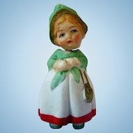 "German bisque bobble head nodder miniature lady doll 2.5"" marked Germany in script"