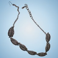 """Vintage Marcasite leaf necklace 8"""" clasped 16"""" unclasped pretty silver and black 7 leaf pattern"""