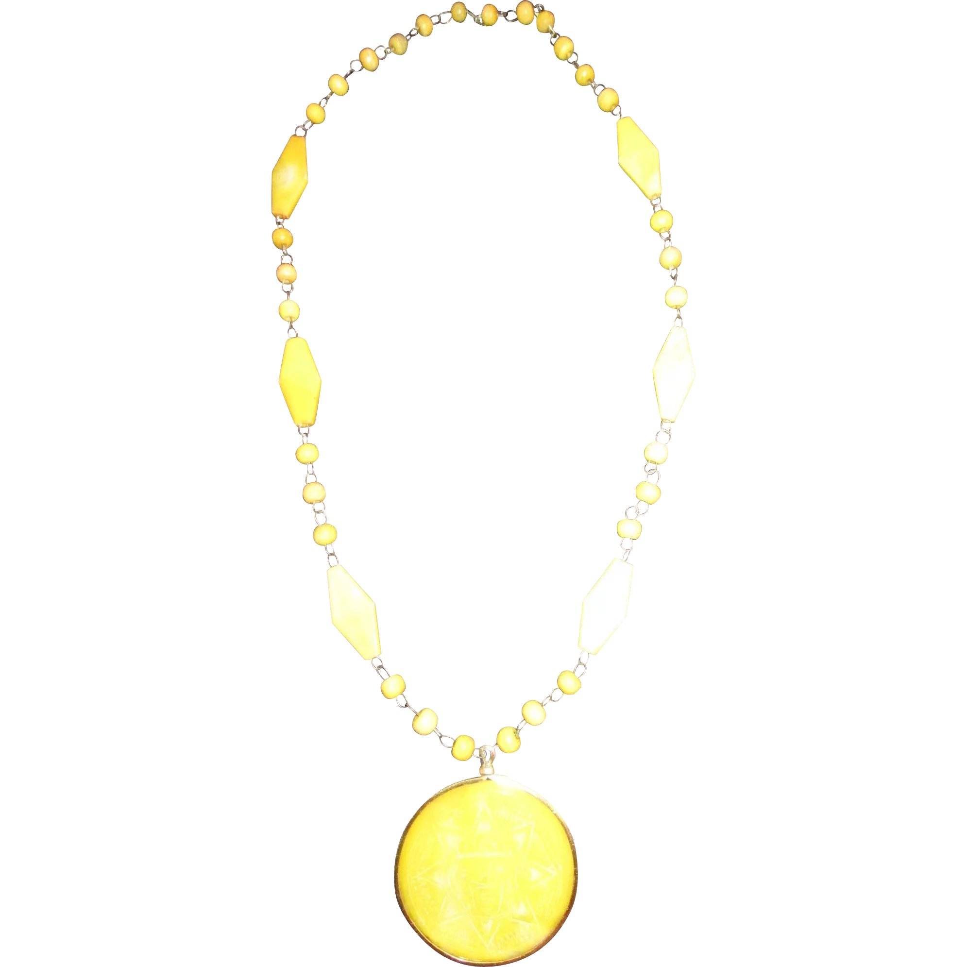 beaded sun yellow jewelry boucheron precious pendant gold hematite and gemstone necklace