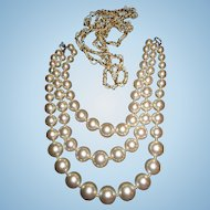 Retro large graduated faux simulated  pearl necklace and beaded intertwined necklace