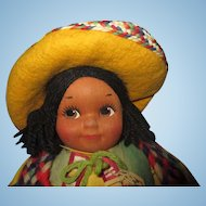"""1940's Gorgeous Georgene Novelty MEXICO boy cloth doll with original paper hang tag Bright colors and adorable 13"""" tall"""