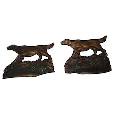 Vintage heavy Pointer Setter hunting dog book ends  bookends old patina