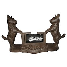 Vintage double Scottie dog cast iron business card holder Deco styling Cute!