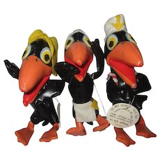 "Three  Heckle and Jeckle leatherette stuffed doll toys from the 1960's 6"" tall. Cowboy Indian Sailor"