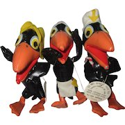 "Three Terrytoons Heckle and Jeckle leatherette stuffed doll toys from the 1960's 6"" tall. Cowboy Indian Sailor"