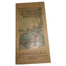 The Greer Automobile Manual Greer College practical guide to cars 1926