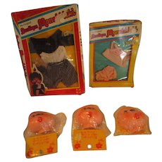 Monchhichi Monkey original mip outfits and some craft monkey faces