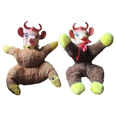 Vintage plush rubber faced Elsie or Borden cow pair old toys Dairy company product