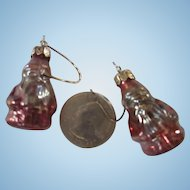 2 Small Glass Santa feather tree ornaments 1 inch very old unusual Germany