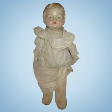 "Antique composition Sawdust filled smelly original doll 20"" needs love and work"
