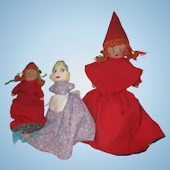 A grouping of Topsy Turvy Little REd Riding hood Big Bad Wolf Grama Cloth dolls Vintage