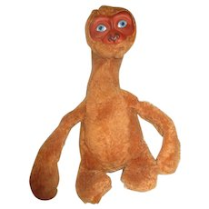 Rushton Rubber FAce E.T. Extra-terrestrial alien plush toy 1982 RARE in brown color