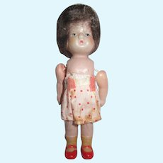 """Celluloid Baby Doll  4""""  with Mohair Wig Vintage Japan Celluloid"""