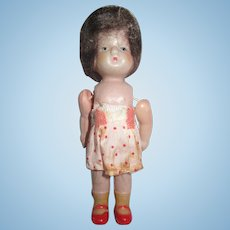 "Celluloid Baby Doll  4""  with Mohair Wig Vintage Japan Celluloid"