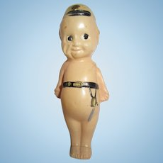 """Vintage Japan Soldier Celluloid Baby Rattle 3.5"""""""