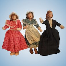 """3 Clay face older dollhouse ladies, 7"""" and 8"""" child, Maid, Lady of the house Victorian stylings"""