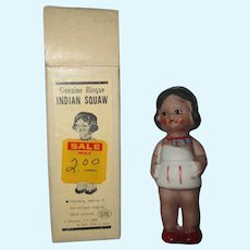 Vintage Native American boxed original bisque doll girl super cute