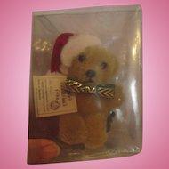 "Miniature sealed Teddy Bear brooch pin Germany Hermann-Spielwaren 1996 Christmas teddy all tags 4"" tall"