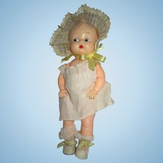 Very Old Boopsie by IDEAL in original dress, large bonnet panties. socks and shoes hard plastic baby doll