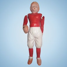 Vintage celluloid football player #2 measure 4.5""