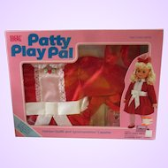 Patty Playpal IDEAL doll 1987 Party Time fun dress outfit silky red with cassette tape MIP