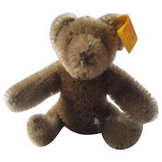 "Super small 3"" miniature teddy bear STEIFF ear button gray brown"