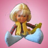 Honey Hill Bunch Mattel 1970's tiny cloth doll Slugger Battie and baseball bat