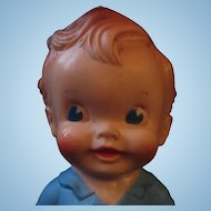 RARE Vintage Sun Rubber squeak toy boy in blue Ruth Newton