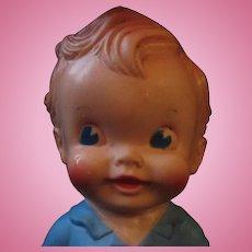 RARE Vintage Sun Rubber squeak toy boy in blue Ruth Newton