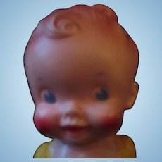 """Sun Rubber Ruth newton squeak toy doll in yellow 8"""" tall"""