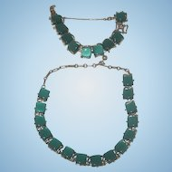 Vintage Coro Emerald Green jeweled bracelet  and necklace set