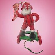 E. Rosen Santa Claus vintage plastic hard pull toy  1950's