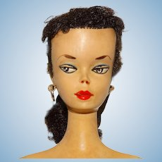Vintage Brunette Early Hand Painted #1 Ponytail Barbie Doll