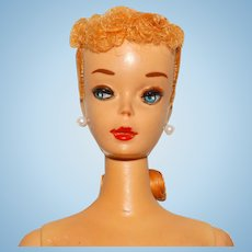 Vintage Blonde #3 Ponytail Barbie Doll w/Brown Eyeliner