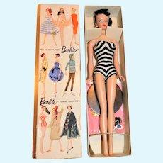 Vintage Brunette #3 Ponytail Barbie Doll w/TM Box Stand Booklet