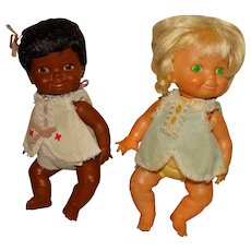 """Ideal 1970 9"""" Belly Button Baby Dolls"""