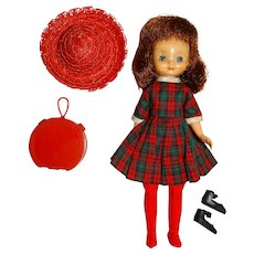 """American Character 1950s 8"""" Betsy McCall Doll w/Plaid Dress"""