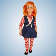 """Vogue 1960 Redhead 22"""" Brikette Doll w/Striped Outfit"""