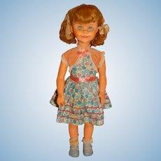 "Vintage 1960s Unmarked 20"" Blonde Brikette Clone Doll w/Pigtails"