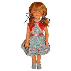 """Vintage 1960s Unmarked 20"""" Blonde Brikette Clone Doll w/Ponytails"""