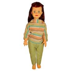 """Vintage 1960s Unmarked 21"""" Dark Red Brikette Jolly Jinx Clone Doll"""