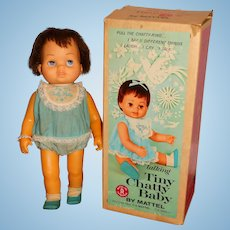 "Mattel Vintage 1960s 16"" Tiny Chatty Baby Doll w/Baby Bracelet & Box"