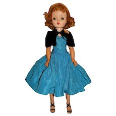 "Madame Alexander 1950s 20"" Blonde Cissy Doll w/Blue Taffeta Dress"