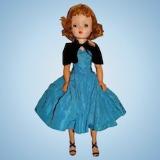 "Madame Alexander 1950s 20"" Blonde Cissy Doll w/Blue Taffeta Dress"